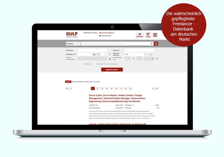 GULP Direkt Dashboard und Freelancer Plattform für den IT-Markt